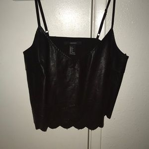 Forever 21 black leather crop tank top